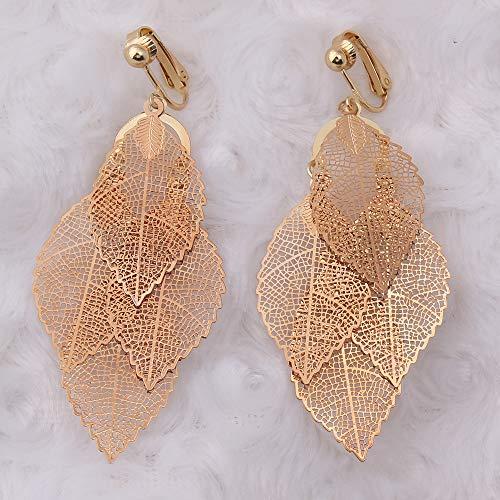 Clip A Forma di Foglia di Rame di Colore Oro Clip A Forma di Orecchini Senza Trafitto Elegante Clip Auricolare Polsino Anti-allergia