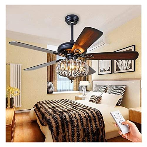 Accesorio de iluminación Vintage LED Mesa de comedor Luz del ventilador de techo con control remoto 5 Hoja de ventilador Hélice de madera Pendiente Luz de la sala de estar Decoración de la decoración
