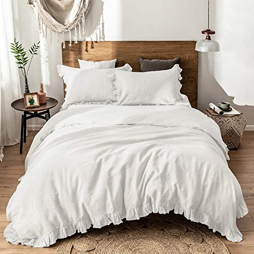 Simple&Opulence 100% Washed Linen Duvet Cover Set-3 Pieces Premium Shabby Chic Ruffled Bedding with 1 Comforter Cover and 2 Pillowshams France Flax High End Frill Sets Vintage Style(Queen, White)