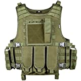 MGFLASHFORCE Tactical Airsoft Vest Adjustable Modular Paintball Vest (Green)