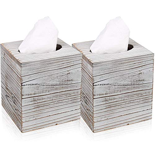 Hossejoy Square Tissue Box Cover with Slide-Out Bottom Panel. Perfect for Bathroom Vanity Countertops, Bedroom Dressers, Night Stands, Desks and Tables (Pack of 2)