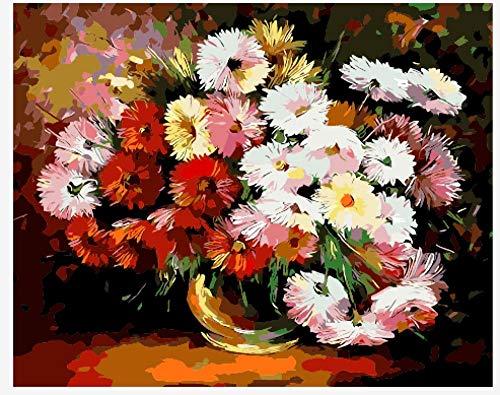 FGHJSF Pintura por números Flor Blanca roja Pintura al óleo de Bricolaje con Pinceles y Pinturas para Adultos Niños Pintura DIY Conjunto Completo de Pinturas para el Hogar -40x50 cm (Sin Marco)