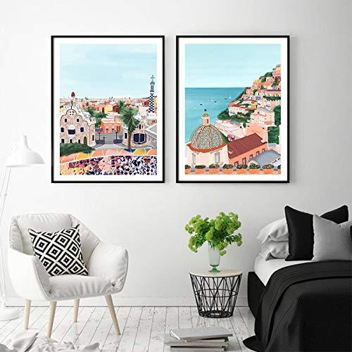Arte de la pared Dibujos animados Ciudad Vista al mar y naturaleza Paisaje Lienzo Pintura Viaje Impresión Póster Imagen Decoración del hogar Color - (50x70cm) X2 Sin marco