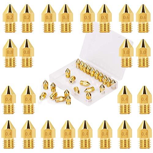 LUTER 24PCS MK8 Extrudeuse Buses d'imprimante 3D Tete Impression 0.2mm, 0.3mm, 0.4mm, 0.5mm, 0.6mm, 0.8mm, 1 mm avec Boîte de rangement gratuit pour Makerbot Creality CR-10