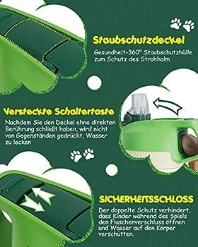 FJbottle Gourde Isotherme Enfant avec paille - 350ML/400ML Bouteille Isotherme Enfant - Sans BPA Tritan, Anti-fuite reutilisable pour l'école, Les Sports et la Maternelle