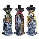Peinture Art gros chats tigres 3 pièces de noël bouteille de vin couverture décoration sacs pour noël nouvel an fête décoration