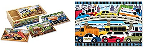 Melissa & Doug Wooden Jigsaw Puzzles in a Box - Construction & 24pc Traffic Jam Floor Puzzle