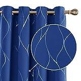Deconovo Cortina Opaca para Habitación Matrimonio Moderno de Rayas Plateadas con Ojales 2 Piezas 140 x 175 cm Azul Oscuro