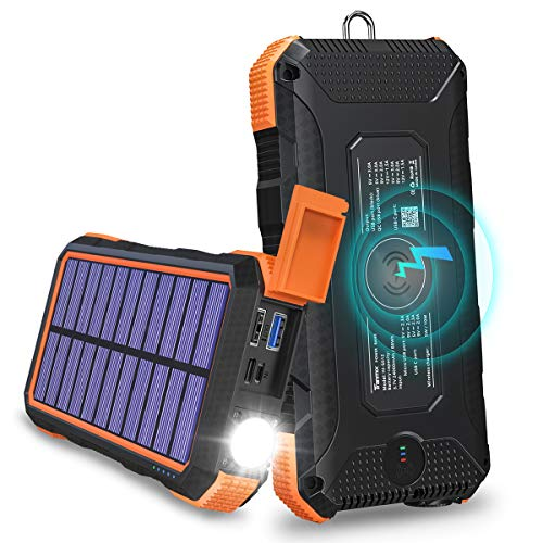 Solar Charger 24000mAh Tranmix 18W Power Bank, QC 3.0 Portable Wireless Charger with 4 Outputs Waterproof Phone Charger for Most Phones, Tablets and Laptops