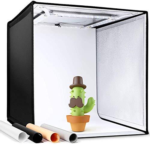Amzdeal Photo Studio50*50*50cm Portable Tente Lumineuse Réglable 3000K-6500K avec 4Bandes LED Dimmable 4000LM, Boîte de Lumière Pliableavec4 Fonds (Bleu, Blanc, Noir, Orange) etSac de Transport