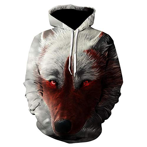 Wijider Sudaderas Hombre 3D Print Off White Animal Wolf Hoodie Hombres Casual Hoodies Hombres Mujeres Otoño...