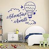 YuanMinglu Nuage et Ballon Applique Aventure Attente Autocollant Mural Chambre Enfant décoration Vinyle Applique Lettrage Mural Bleu XXL 150cm x 110cm