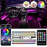 Sanhezhong Interior Car Lights, Car LED Strip Lights 2-in-1 Design 4pcs 72 LED Remote and APP Controller Lighting Kits, Waterproof Multi DIY Color Music Car Lighting with Car Charger and DC 12V