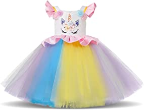 Kids Unicorn Rainbow Dress Cosplay Party Costume Fairy Fancy Dress Princess Tutu Skirt for Birthday Carnival Hallowee 1-7 ...