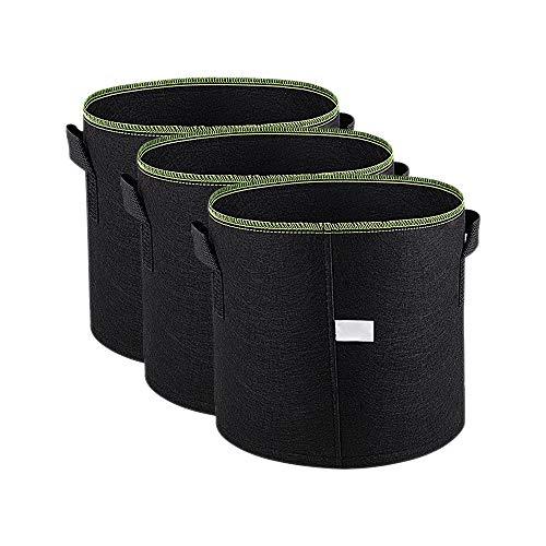 YOFASEN 3-Pack 11 L / 3 Gallonen Pflanzenbeutel - Atmungsaktive Soft-Sided Pflanzentasche Vliesstoff Pflanzsacke Blumentöpfe für Gartenbalkon - mit Tragegriffe Wachsende Taschen, Grün Linie