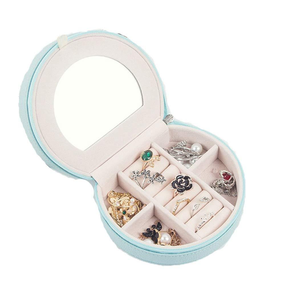Joyero Caja de joyería para viaje, mujer, pequeño espejo, organizador con cremallera, almacenamiento de exhibición, caja de joyas para anillos, pulseras, pendientes, regalo de fiesta de cumpleaños Reg: Amazon.es: Hogar