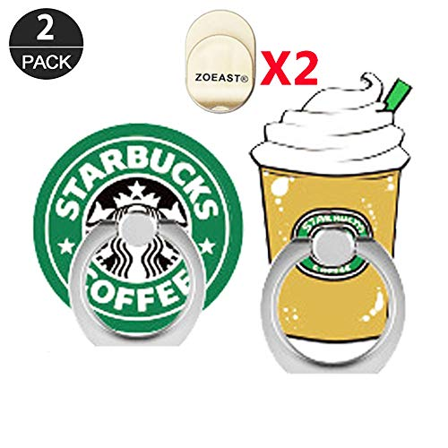 ZOEAST(TM) 2 Pack Phone Ring Grip Mocha Coffee Cappuccino Macchiato Universal 360° Adjustable Holder Car Desk Hook Stand Stent Mount Kickstand Compatible with iPhone X Plus Samsung (2pcs Star)