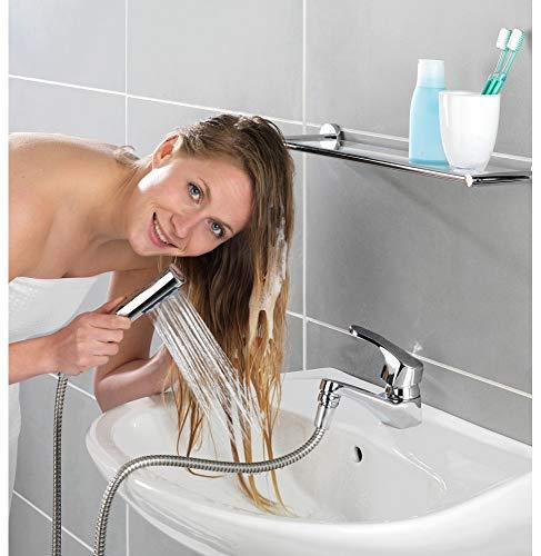 WENKO Doccetta per lavandino con gancio DUO - Doccetta per lavabo, Ottone, 170 x 2.7 x 2.7 cm, Argento lucido