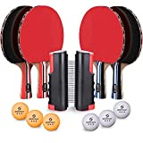 Sportout 4 Player Ping Pong Paddle Set, Table Tennis Paddle Set with Retractable Net, Balls and Portable Case,...
