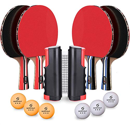 Sportout 4 Player Ping Pong Paddle Set, Table Tennis Paddle Set with Retractable Net, Balls and Portable Case, Perfect for Home Indoor or Outdoor Play, Thanksgiving Day for Kids