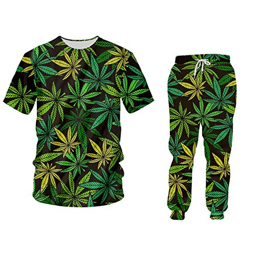 DIONGS Grüner Hanfblatt Weed 3D 2-teiliges Set Hoodie Pullover Männer/Frauen Trainingsanzug TSPA60187 S