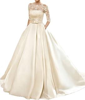 f2978701c6f8 Yuxin Women's Lace Wedding Dress 3/4 Sleeves Sweep Train Satin Bridal Gown