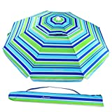 MOVTOTOP Beach Umbrella, 6.5ft Sand Anchor with Tilt Aluminum Pole, Portable UV 100+ Protection Beach Umbrella with Carry Bag for Outdoor Patio (Green/Blue,Green/Yellow)