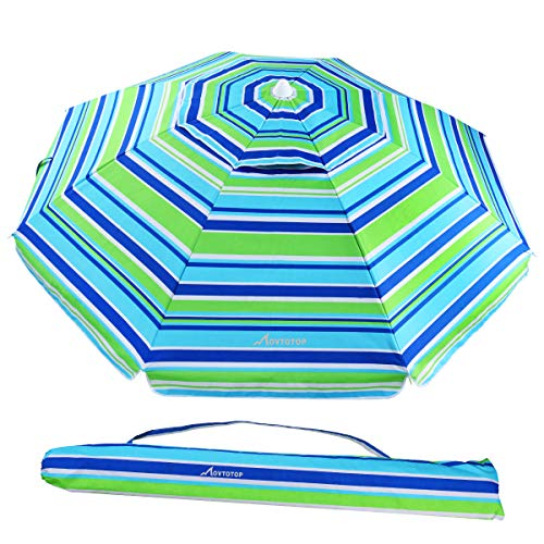 MOVTOTOP Beach Umbrella UV 50+, 6.5ft Umbrella with Sand Anchor & Tilt Aluminum Pole, Portable Beach Umbrella with Carry Bag for Beach Patio Garden Outdoor Blue/Green
