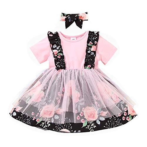 Loalirando Vestido de encaje para bebé con flores y lazo, manga corta, para niñas, vestido de cuello redondo y fruta, falda estampada para el pelo Negro 3-6 Meses