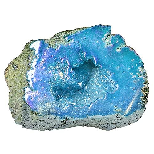 Nupuyai Géode de roche en titane naturel - Revêtement en cristal de roche - Géode de guérison Reiki - Décoration de maison Feng Shui