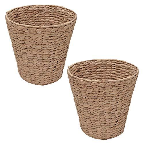 Casa Furnishings Set of 2 Wicker Waste Paper Baskets Bin Natural Water Hyacinth