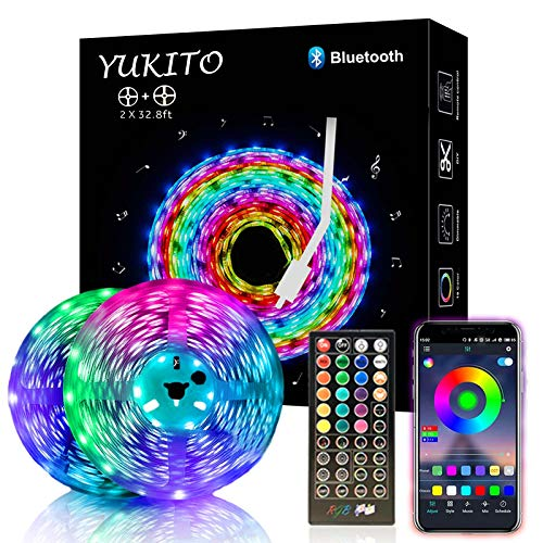 Led Lights Strip for Bedroom 65.6ft/20M Music Sync RGB LED Light Strips kit Bluetooth APP Controlled for Bedroom Home…