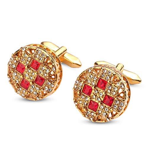 SataanReaper Presents Shimmery Cherry Red Cirlcle Golden Cufflinks for Men #SR-079