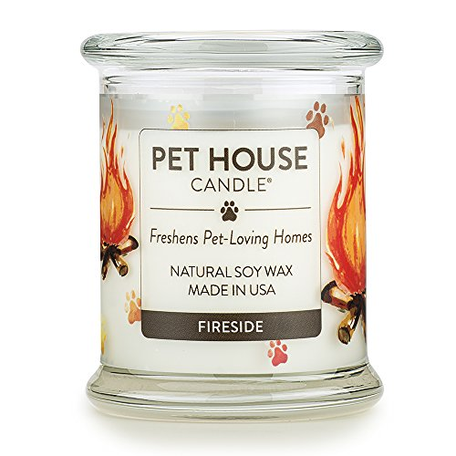 One Fur All Can All-100% Natural Soy Wax, 20 Fragrances Odor Eliminator, Up to 60 Hours Burn Time, Non-Toxic, Eco-Friendly Reusable Glass Jar Scented Pet House Candle, Fires, Pack of 1, Fireside