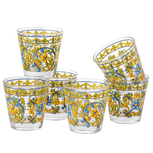 MONTEMAGGI Set 6 bicchieri acqua Decoro Colorato Stampato Sicilia in vetro MADE IN ITALY Capienza 25 Cl.