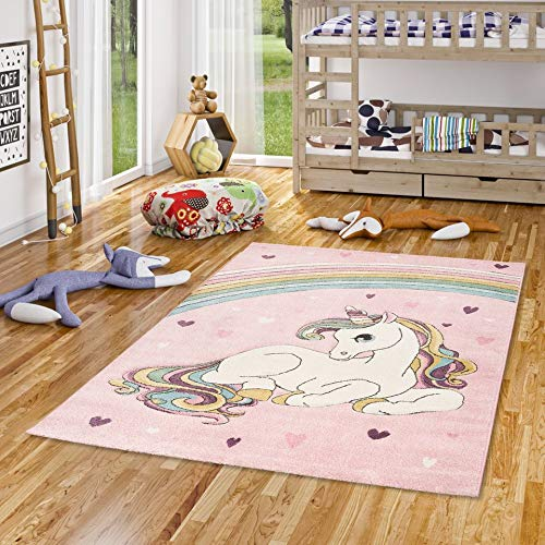 Pergamon Maui Kids - Alfombra Infantil - Unicornio Rosa Pastel Colorido - 5 tamaños