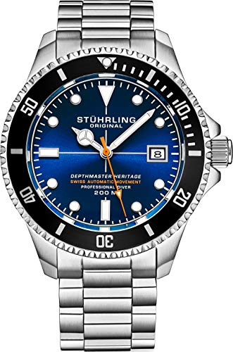 Reloj de buceo profesional suizo automático de acero inoxidable 'DEPTHMASTER', resistente al agua, 200 metros, pulsera cepillada y biselada con cierre de seguridad y corona de rosca