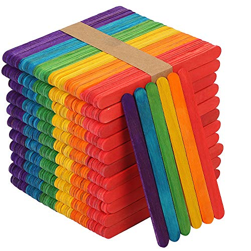 KEILEOHO 1000 PCS 6 Inch Colored Popsicle Sticks, Natural Lollipop Sticks Jumbo Wooden Lolly Sticks for Craft Homemade DIY Model Making Design Kids Education Adults Toys