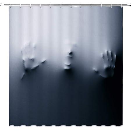 Waterproof Polyester Horror Transparent Skull Ghost Shower Curtain Set Bath Mat