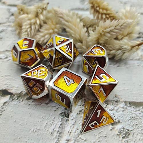 junengSO 7pcs Metallwürfel Set D & D Brettspiel Polyedrische Würfel für RPG Rollenspiele