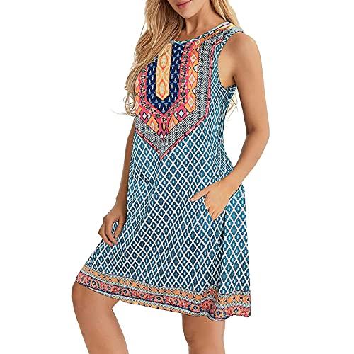 Vestido de verano para mujer, sin mangas, estilo bohemio, estampado, minivestido, con bolsillos, informal, multicolor, moderno, elegante, suelto, azul claro, M-36/38/40