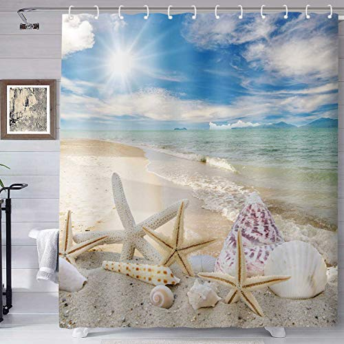 TERSUM Beach Starfish Shower Curtain Fabric Washable Seashell Bathroom Decor Digital Printed with 12 Hooks 70x72 Inches YLHXTE286