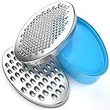 Rallador de Queso BINSENI, sin BPA, con Contenedor de Almacenamiento de Alimentos y Tapa, Apto para Queso, Verduras y Chocolate (Azul)