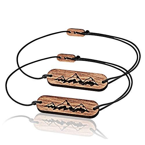 SKONIDA Design Freundschafts-Armband 2er Pack - für Kletterer und Bergsteiger - Holz-Schmuck für Damen und Herren in Geschenk-Box