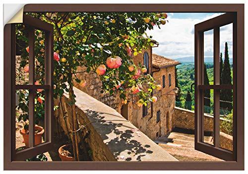 Artland Wandbild selbstklebend Vinylfolie 100x70 cm Wanddeko Wandtattoo Fensterblick Fenster Toskana Landschaft Garten Rosen Balkon T5QB