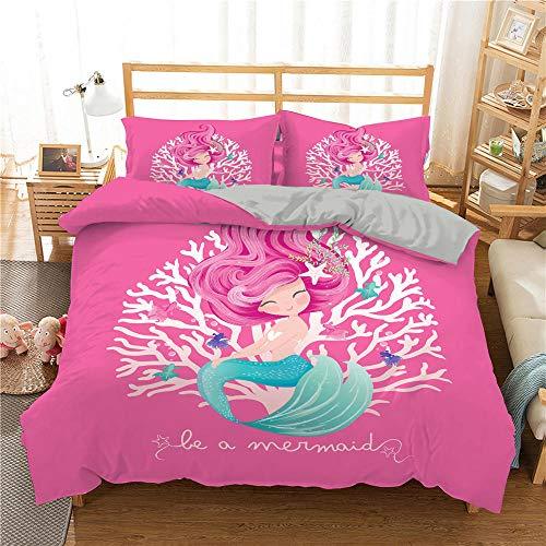 Funda Nórdica 240x220cmCama con 1 Funda de Almohada 50x75 cm Funda de Edredón de Microfibra Suave y Transpirable Juego de Cama para niñas Rosa Sirena Coral Estrella de mar