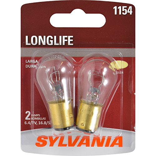 SYLVANIA - 1154 Long Life Miniature - Bulb, Ideal Option for Brake, Tail, and Turn Signal. (Contains 2 Bulbs)