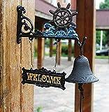 qued Bootsanker Gusseisen Dinner Bell Mittagessen que Tür Willkommen Distressed Garden Bell,A