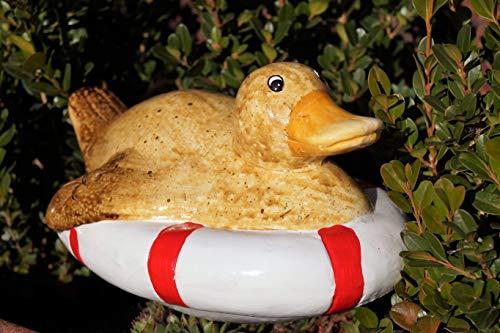 Keramik Tierfiguren für Gartenteich schwimmend Teichfigur Dekoration - 1 Stück (Keramik, Ente im Rettungsring)