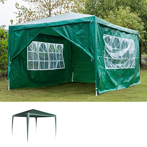 AutoBaBa 3x4m Waterproof Garden Gazebo Marquee Canopy Tent Steel Tube Strong Marquee, PE, Green